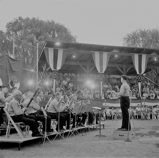 An orchestra playing patriotic songs remains a standard part of July 4 celebrations at Crestwood Park in Allendale, overseen by Holiday Observers.