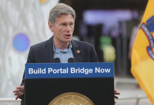 Congressmen Tom Malinowski, speaks at a press conference in Secaucus in favor of a new Portal Bridge. Wednesday, August 28, 2019