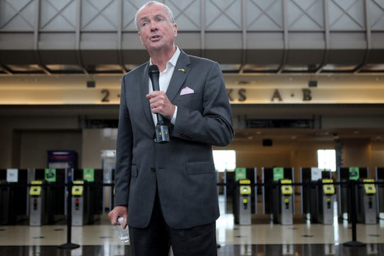 Governor, Phil Murphy speaks at a press conference at Secaucus Junction Station.  The press conference was held to highlight the importance of building a new Portal Bridge.  The current bridge, which is 110 years old, breaks down often and sometimes needs to be hit back into place with a sledge hammer.  The state has $600 million to put into the new portal bridge but needs more than that amount in federal funding to build the new bridge. Wednesday, August 28, 2019