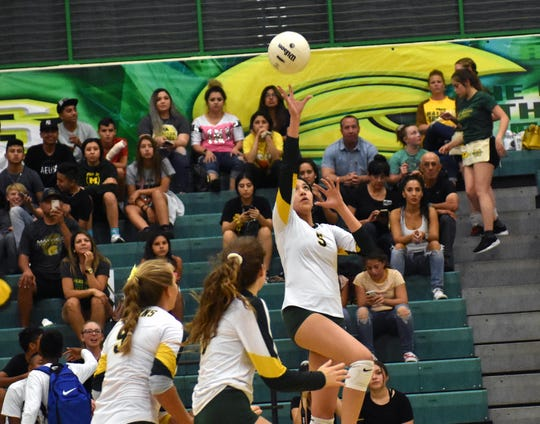 Mayfield's Deanna Almaguer goes up for a touch shot as Mayfield took on Pebble Hills High School from El Paso on Tuesday night