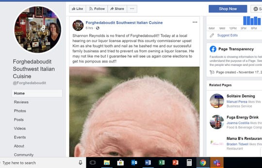 "On Aug. 27, 2019, Forghedaboudit's official Facebook page blasted Doña Ana County Commissioner Shannon Reynolds after he voted 'no' on a beer and wine license for their new restaurant in Picacho Hills. In comments on the post, the restaurant wrote that Reynolds ""hates the Italians."" The post was removed the following day."
