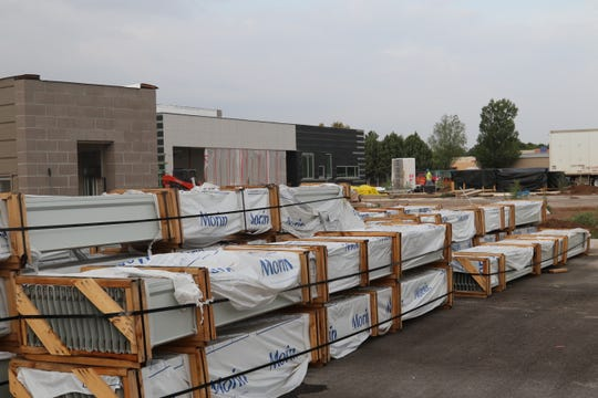Construction materials lie ready at Cottonwood Elementary, located on Lea Street across from Joe Stanley Smith Elementary on Aug. 28. Construction is proceeding on time and under budget officials said. The construction of the building began in 2018.