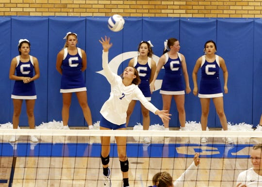 Carlsbad's Alysia Tiller serves the ball against Artesia during the Aug. 28 match in Carlsbad.