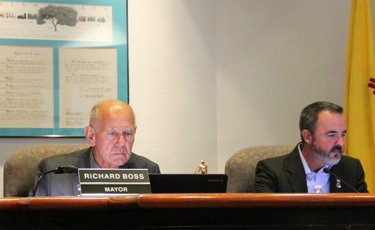 Alamogordo Mayor Richard Boss and Alamogordo Mayor Pro Tem Jason Baldwin at the Aug. 27 regular Alamogordo City Commission meeting.