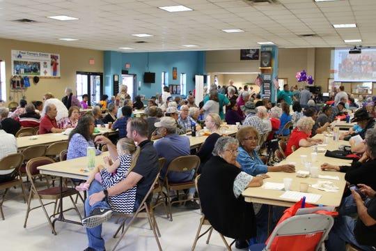 A full house awaits lunch during an open house at the Bonnie Dallas Senior Center in Farmington on Aug. 28.
