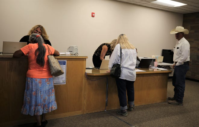 Candidates file paperwork, Tuesday, Aug. 27, 2019, at San Juan County Clerk's Office in Aztec.
