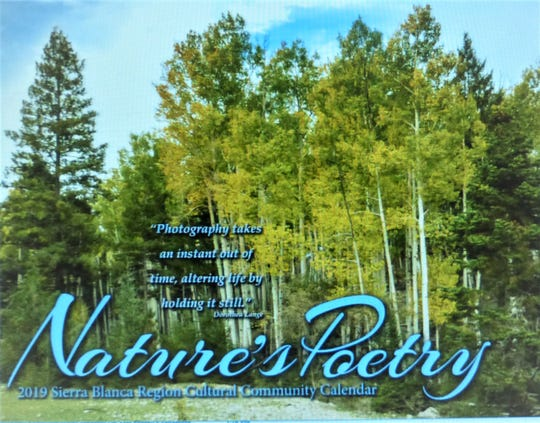 The calendar cover shot for the 2019  edition of the Sierra Blanca Region Cultural Community Calendar. featured a grove of aspen among pines.