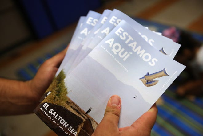 Copies of the youth magazine, Estamos Aquí, were handed out at the Boys and Girls Club in Mecca on Tuesday, Aug. 27, 2019. A team of young adults and teens, ages 14-25, created the magazine as part of the Summer Environmental Justice Program with the Youth Leadership Institute.