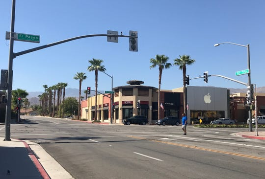 Pedestrian improvements planned for El Paseo in Palm Desert include new, brightly painted crosswalks at various locations, including the San Pablo Avenue intersection, as shown on Aug. 28, 2019.