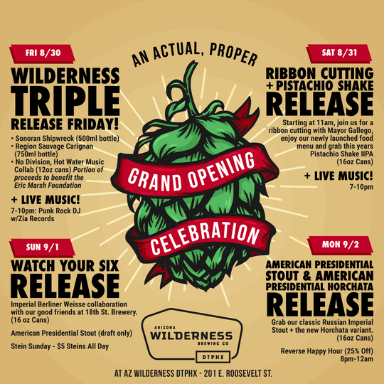Arizona Wilderness will release seven new beers over its four day celebration.