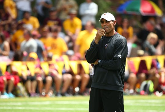 Arizona State head coach Herm Edwards at Camp Tontozona on Aug. 10, 2019 near Kolhs Ranch, Ariz.