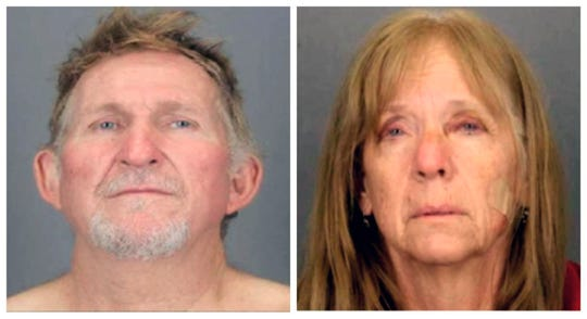 These undated combination booking photos provided by the Tucson Police Department show 56-year-old Blane Barksdale and his 59-year-old wife, Susan Barksdale. The couple suspected in a Tucson murder have escaped after overpowering two security guards while being extradited from New York to Arizona, authorities said Tuesday, Aug. 27, 2019.