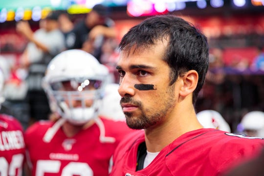 Cardinals quarterback Charles Kanoff looks on during a game against the Raiders during a preseason game Aug 15.