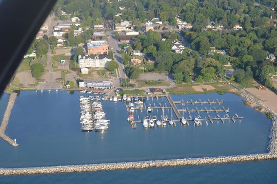 A view of The Windjammer in Lexinton from a plane flying over Lake Huron.