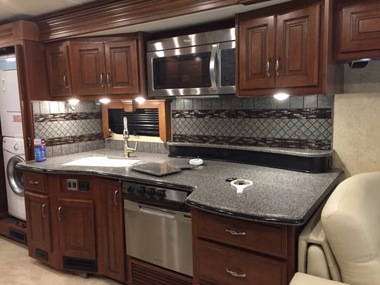 The kitchen area of Diane and John Richards's spacious Class A motor home.