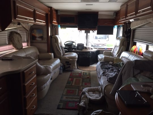 An interior view of Diane and John Richards's spacious Class A motor home.