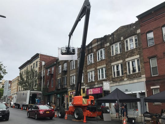 """Crews prepare for filming """"I Know This Much is True"""" on Main Street in the City of Poughkeepsie Wednesday."""