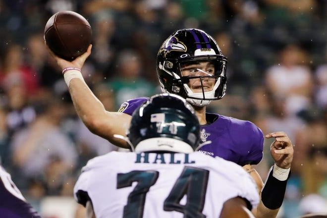 Baltimore Ravens quarterback Trace McSorley in action during a preseason NFL football game against the Philadelphia Eagles, Thursday, Aug. 22, 2019, in Philadelphia. (AP Photo/Matt Rourke)