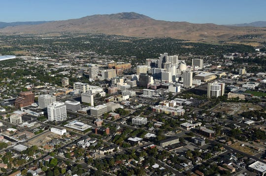 The city of Reno seen from the air on Aug. 24, 2019.