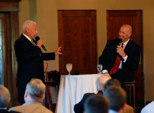 U.S. Rep. Greg Pence (left) jokes with moderator Phil Quinn during the Wayne County Area Chamber of Commerce's Legislative Forum on Wednesday, Aug. 28, 2019.