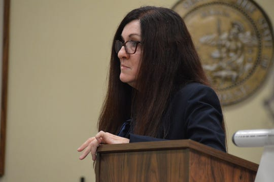 Kathryn Barton, assistant public defender for Shasta County, speaks during an assault trial against three co-defendants from the Cottonwood citizens watch, Jason Wicks, Jeffrey Wicks and Carrolyn Barlow.