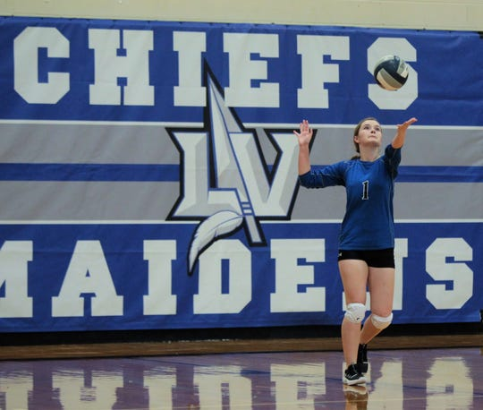 Lake View High School's Mykayla Wall serves during action at the Nita Vannoy Memorial Volleyball Tournament Aug. 16, 2019, at Lake View's Ben Norton Gym.