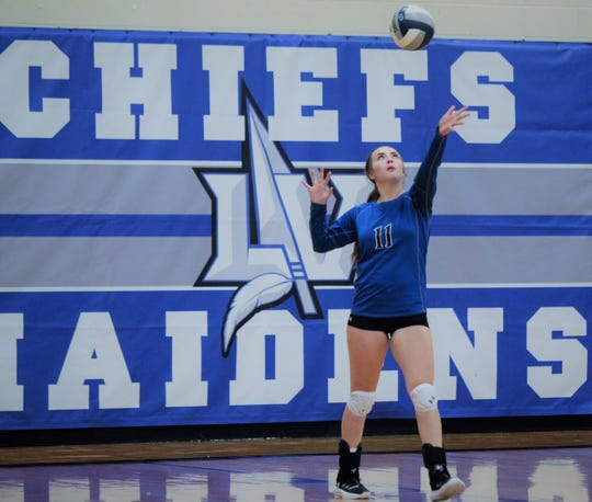 Lake View High School's Mikaila Wagner serves during action at the Nita Vannoy Memorial Volleyball Tournament Aug. 16, 2019, at Lake View's Ben Norton Gym.