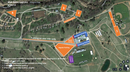 A map showing designated parking around R. Clinton Schulze Stadium, the Puncher Dome, in Mason, Texas, for the 2019 Wall at Mason high school football game scheduled for Thursday, Aug. 29, 2019.