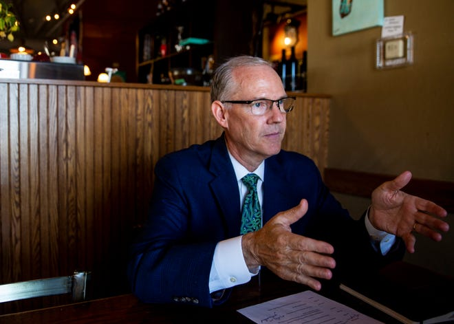 """Brian Maher, executive director and CEO of the South Dakota Board of Regents, says enrollment for 2021 is """"largely unchanged"""" from last year. Maher as pictured Wednesday, Aug. 28, 2019 at Kaladi's Bistro."""