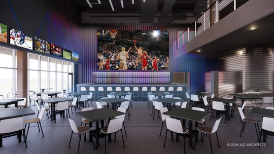 A rendering shows the bar and restaurant space planned for the main floor of Great Shots.