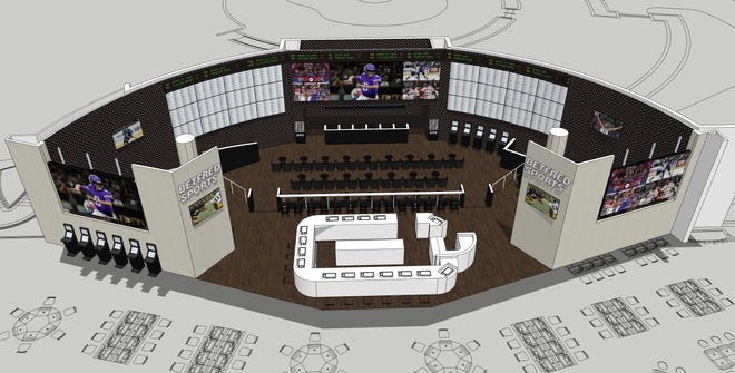 A rendering of the new sportsbook planned for Grand Falls casino in Iowa.