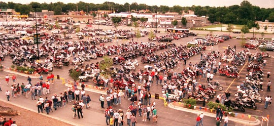 Thousands of Goldwing bikers showed up at the Bass Pro parking lot for the annual Wingding in Springfield in 1999.