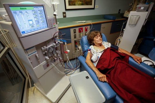 Janetta Stevens gets dialysis at Ozarks Dialysis Services on Thursday, July 18, 2019, in Springfield, Mo. Stevens is one of the members of the aging homeless population.