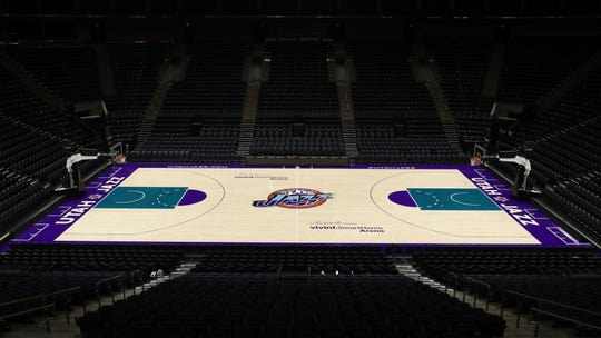 The classic Jazz court design the team will play on this season.