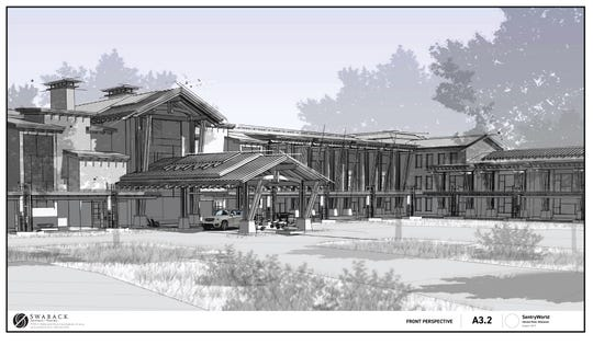A rendering by Swaback Architects of the new hotel that will be built at SentryWorld in Stevens Point.