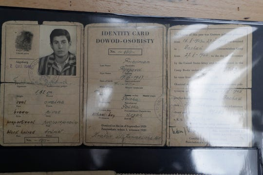 Richard Friedemann kept many archives from his time in concentration camps during the Holocaust, including this identification card that includes his fingerprint, camp book number, photo and a description of his appearance.