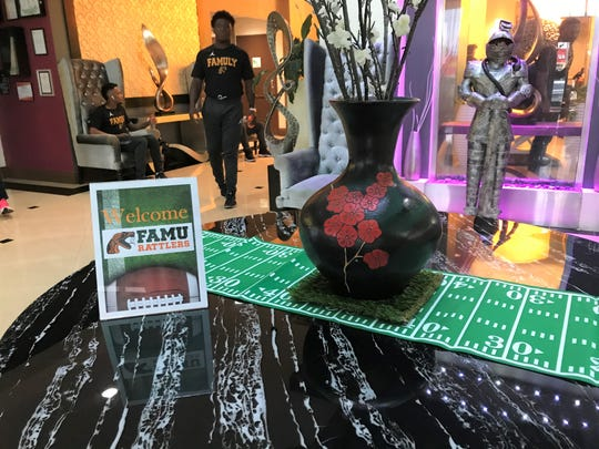 The FAMU football team stayed at the Holiday Inn Orlando East - UCF Area for the season opener versus the Knights.  This welcoming sign was displayed by guest services in the main lobby.