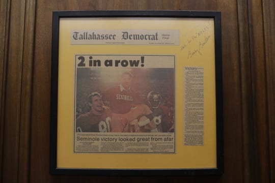 This signed and framed copy of the Tallahassee Democrat the morning after FSU beat UF for the second time in a row hangs on publisher Skip Foster's office wall.