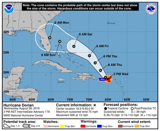 Hurricane Dorian 2 p.m. Aug. 28, 2019