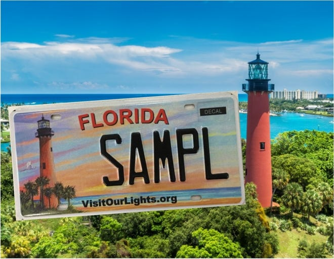 The Department of Motor Vehicles will offer official 'Visit Our Lights' Florida Lighthouses' specialty license plate with a redesigned look featuring an original artist rendering of Palm Beach County's Jupiter Inlet Lighthouse.