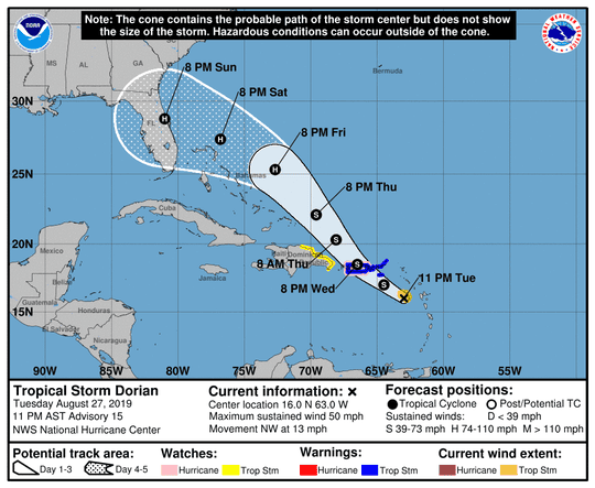 The path of Tropical Storm Dorian at 11 p.m. Tuesday, Aug. 27, 2019.