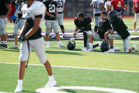 Franklin football practices Tuesday, Aug. 27, at the high school football field in El Paso.