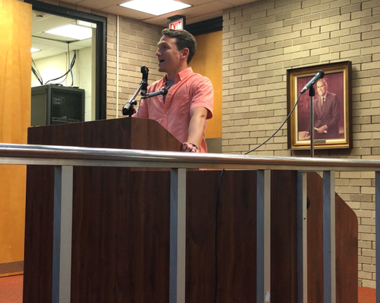 Millville resident Sean A. Thom asks Vineland City Council on Tuesday night to cancel a 2017 contract with U.S.  Immigration and Customs Enforcement that lets its agents use the police firing range to train.