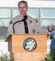 Tulare County Sheriff Mike Boudreaux speaks during the unveiling of the new South County Detention Facility in Porterville on Wednesday, August 28, 2019.