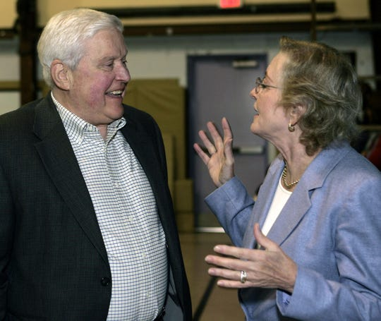 "Philip ""Pem"" McCurdy, founding head of the science department at RCDS, left, and Kathryn Pennypacker Harrison, whose father Kendall Pennypacker helped found the school attend the Founder's Day celebration for the 50th anniversary of the Rockland Country Day School in Congers Oct. 2, 2009."