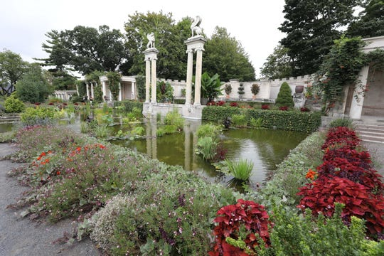 Colorful plants line the canals inside the walled garden at Untermyer Park and Gardens in Yonkers, Aug. 28, 2019.