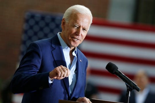 Democratic presidential candidate former Vice President Joe Biden speaks during a campaign event at Keene State College in Keene, N.H., Saturday, Aug. 24, 2019. (AP Photo/Michael Dwyer)