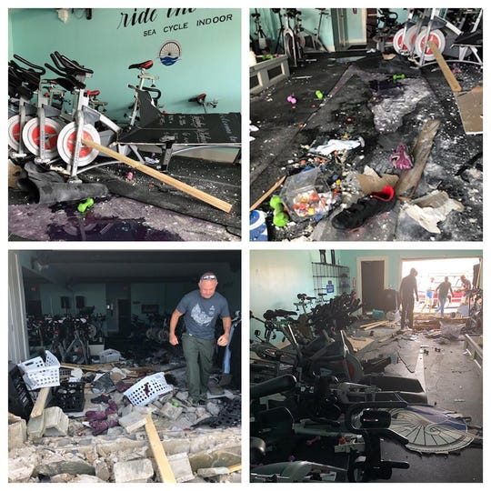 This photo collage, displaying the damage to Sea Cycle Indoor after a car crashed into the building Wednesday, was posted to the business' Facebook. The studio hopes to reopen for the weekend.