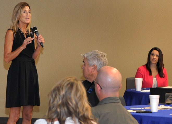 The U.S. Chamber of Commerce Foundation, Hiring Our Heroes director of career summits, Marnie Holder, right, spoke during a community leaders roundtable event that focussed on Veterans and their spouses.