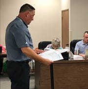 WIchita Falls ISD Superintendent Michael Kuhrt presents options for an overhaul of elementary school facilities to trustees during a recent work session at the Education Center.